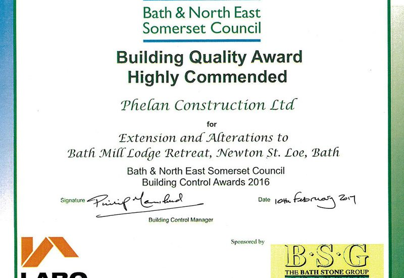 Highly Commended at Bath Awards
