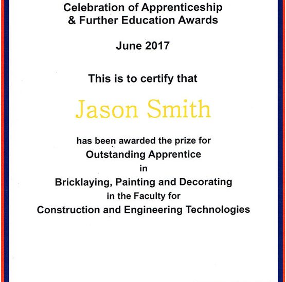 Jason Smith Recognised as Outstanding Apprentice