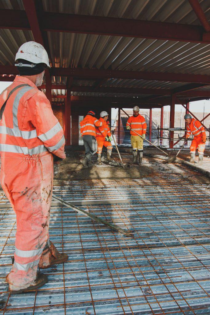 Manningtree High School, LIVE Construction site - Pouring concrete